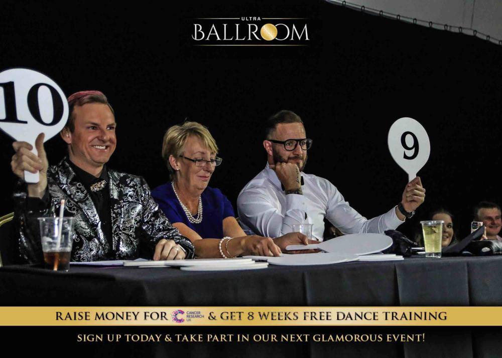 Ultra Ballroom judges scoring the dancers